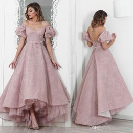 $enCountryForm.capitalKeyWord Australia - Maison Roula Full Lace Prom Dresses With Sequin Off Shoulder High Low A-Line Evening Gowns Elegant Sweet Pink Special Occasion Dress