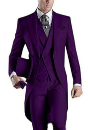 royal blue tuxedos tailcoat NZ - White Black Purple Burgundy Blue Mens Formal Party Dancing Blazer Tailcoats Men Party Groomsmen Suits in Wedding Tuxedos(Jacket+Pants+Vest)