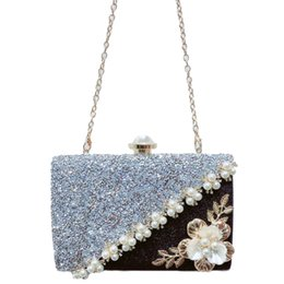 handmade flowers clutch 2019 - ABDB-Handmade Flowers Evening Bag Ladies Luxury Pearl Stitching Sequins Scrub Clutch Bridesmaid Bride Wedding Wallet che