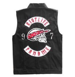 $enCountryForm.capitalKeyWord UK - Mens Embroidery Patch Biker Denim Vest Skull Design Motorcycle Motor Sleeveless Jackets Black Hip Hop Rock Punk Waistcoat