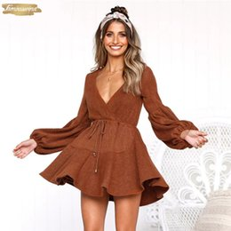 long sleeve maxi dresses Australia - Long Winter Dresses Puff Sleeve Knitted Sexy Autumn Deep V Neck Off Shoulder Elastic Waist Lace Up Mini Women Dress