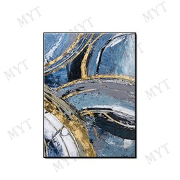 Unique Room Decor Australia - Unique gift picture abstract wall art home decor pure Hand-painted gold plating Abstract Oil Painting on canvas for living room no framed