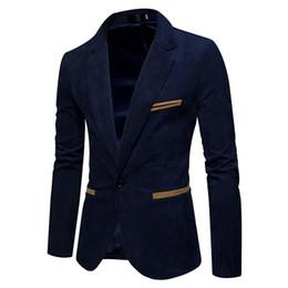 Mens sliM fit corduroy suit online shopping - New Fashion Casual Men Blazer Corduroy Patchwork Mens Business One Button Slim Fit Masculino Male Suits Jacket Blazers M XXXL