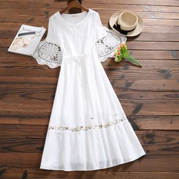 62b71e8e49 Mori Girl White Summer Dress 2018 New Fashion Women Cotton And Linen  Embroidery Dresses Japanese Long Vestidos S-xl Clothes J190430