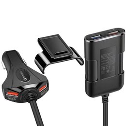 Cell Phone Charger Ports Australia - QC3.0 Car Charger 4 Ports USB Fast Charging For Front Back Seat With Extension Cable For iPhone Samsung Xiaomi Huawei Cell Phone