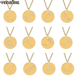 Vecalon Unique 10 Style Constellation Pendant Stainless Steel Party Pendants With Necklace For Women Men Jewelry Birthday Gift NZ1095