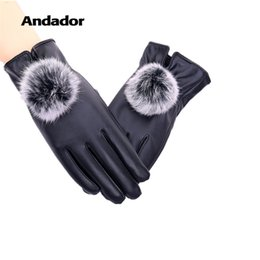 $enCountryForm.capitalKeyWord Australia - Andador Touch Screen Girls Warm Thick Winter Gloves Rabbit Fur Elegant Lady PU Leather Women Leather Gloves