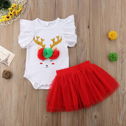 Girl Toddlers Australia - Baby Girls Deer pattern Romper outfits 2pc set Flouncing short sleeve romper+red lace tutu skirt for 3-18m toddler summer animal clothing