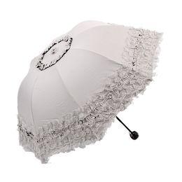Discount solar umbrellas - Umbrella Rain Women Women's Princess Folding Umbrella Sombrillas Uv Con Proteccion Solar Sunny and Rainy 50Ry050
