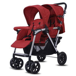 Chinese  Twin baby strollers sit high and rear view baby stroller light double second child stroller reclining fold manufacturers