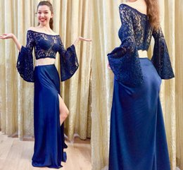 $enCountryForm.capitalKeyWord Australia - Arabic Two Piece Prom Dresses Off the Shoulder Split Evening Gowns Kaftan Long Sleeves Cocktail Party Dress Formal Gowns