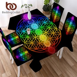 round flower table cloth NZ - BeddingOutlet Chakra Table Cloth Zen Theme Black Tablecloth Waterproof Colorful Flower of Life Decorative Table Linen for Home T200707
