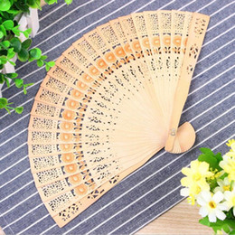$enCountryForm.capitalKeyWord Australia - Chinese Folding Fan Wooden Hand Flower Bamboo home decoration wood carving hollow out fans free shipping