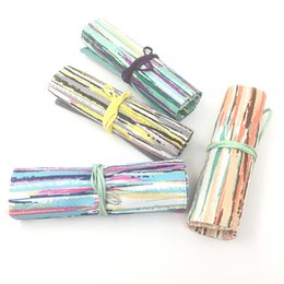 $enCountryForm.capitalKeyWord UK - Lovely canvas student painting pen curtain large capacity art stationery collecting pen bag wall tie rope manufacturers direct sales