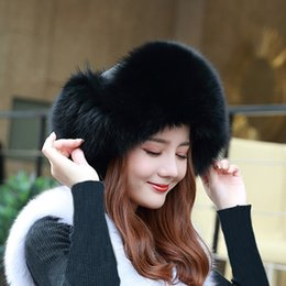 182773d0c1e61 Winter Keep Warm Leather And Fur Lei Feng Pilot Hat Fox Hair Leather And  Fur Caps Woman Thin Skiing Caps Russian Touca Inverno