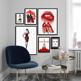 lip canvas art Australia - Fashion Paris Perfume Red Lips Flower Wall Art Canvas Painting Nordic Posters And Prints Wall Pictures For Living Room Decor