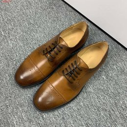 sew designs dresses UK - Quality flat dress shoes Men low-heeled dress shoes black and brown lace-up openings Dot hollow design, fashion calm With Dust Bag