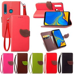 Banking Case Australia - Leaf Shape Flip Cell Phone Soft PU Leather Wallet Case for Samsung A9 2018 with Bank Card Holder Strong Hand Strap