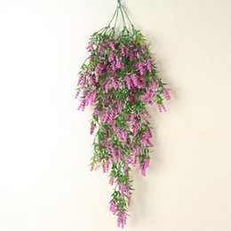China Home Decor Garland Wall Hanging Plants Leaves Stamen Flower Vine Artificial Simulation Lavender Ivy cheap flowers stamens wholesale suppliers