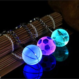 Globe Glasses Australia - Fancy&Fantasy 2018 New LED Keychain 30MM Glass Ball Engraving Round 3D Globe Crystal Ball Colorful Pendant For Men