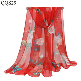 $enCountryForm.capitalKeyWord UK - 160*50cm Fashion Women Scarves Peach Blossom Printing Floral Soft Long Wrap Scarf New Ladies Georgett Shawl Scarves for women girls birthday