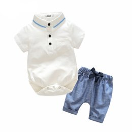 Christening Suits Australia - Kimocat Newborn Baby Boy Clothes Set Birthday Christening Cloth Infant Baby Boys Formal Wedding Clothes Suit +T-shirt+Pant