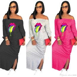 $enCountryForm.capitalKeyWord Australia - Autumn New Women Dresses Long Sleeve Color Lip Slash Neck Loose Long Design Ladies Dress Side Split