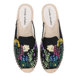 flat slippers for womens Australia - 2020 Sale Top Cotton Fabric Rubber Floral Summer Indoor Terlik Mules Pantufa Womens Espadrilles Flat Shoes Slippers For Y200706