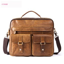 new white laptop 2019 - Vintage large capacity leather New Design Men's Briefcase Satchel Bags For Men Business Fashion Messenger Bag 14&#0