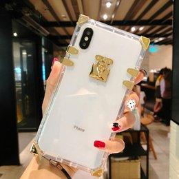 Vente en gros Cas de silicone souple de luxe en cristal clair pour iPhone 6 6S Plus 7 8 Plus cas de téléphone TPU carré pour iPhone X XR XS Max cas