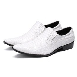 Oxford Shoes White Red Australia - White Genuine Leather Men Dress Flats Pointed Toe Formal Wedding Shoes Black Red Oxford Brogues Shoes for Men Mocasines Hombre