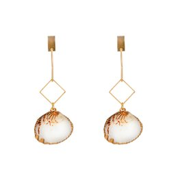 9bd2798becb9 Earrings Europe Style 18K gold Rhombic Shaped Ear Hook Long Tassel Fashion  Natural Gold-plated Scalloped Sea Cameo Shell Conch Earrings