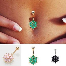 $enCountryForm.capitalKeyWord NZ - 316L Stainless Steel Green Flower Crystal Navel Bars Gold Belly Button Ring Navel Piercing Jewelry 1.6*10*5*8mm gift Free Shipping
