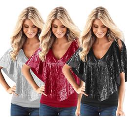 $enCountryForm.capitalKeyWord Australia - Fashion T Shirt Women Short Sleeve Solid Plus size Loose sexy Off-Shoulder Summer Style Female Bling T-Shirt Tops T-Shirt