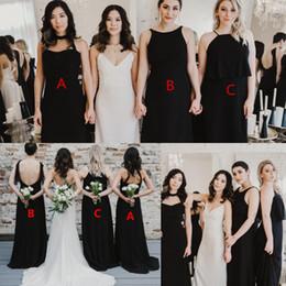b0927a0073 Barato Negro gasa vestidos de dama de honor largos 2019 Mezcla Combina  estilo Una línea cabestro Invitado de boda Playa Boho Maid Of Honor vestido  más el ...