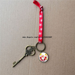red heart decorations Canada - sublimation santa claus key christmas decorations with red snow rope heart transfer printing blank two-sided printing gifts material