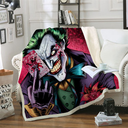 Discount quilt bedspread king - BeddingOutlet Joker Poker Printed Velvet Plush Throw Blanket Bedspread for Kids Girls Sherpa Blanket Travel Couch Quilt