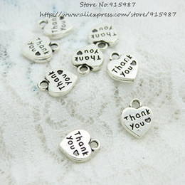 two heart charms NZ - Wholesale 200pcs lot 10*12.5mm two Color Metal Alloy Thick Hearts Alphabet Letter Thank you Charm D0599