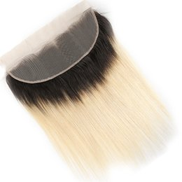 Blonde Brazilian Hair Ombre UK - 1B 613 Brazilian Straight Ombre Frontal 13x4 Ear to Ear Closure Blonde hair T1b 613 100% non-remy Human Hair Extensions