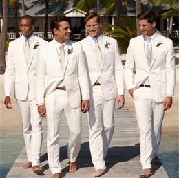 Beige Slim Suits For Men Australia - White Slim Fit Wedding Men Suit 2Pieces Men 2019 Casual Stylish Tuxedos For Party Prom Wedding Mens Suits (Jacket+Pants+Tie)