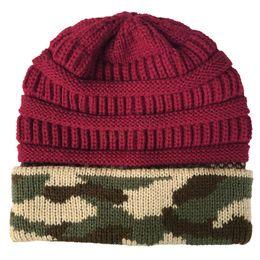$enCountryForm.capitalKeyWord Australia - Winter Women Knitted Hat Warm camouflage patchwork Wool Hat Ladies Men unisex Skull Beanie Solid Female Outdoor Caps HOT LJJA2774