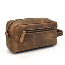 Leather Travel Cosmetic Bag Case Australia - Men Crazy Horse Leather Clutch Cosmetic Bag Pouch Zipper Case Make Up Case Famou Genuine Leather Wash Bag Travel Bolsa De Lavado