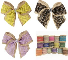 make ribbon hair accessory Australia - Custom-made 7inch cheer bow elastic band Vintage Natural Jute Burlap hessian bowknot lace ribbon girl hair bows Hair accessories 20pcs