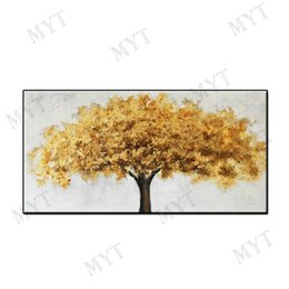 Decor Abstract Australia - Big size cheap Abstract wall art home decor Hand-painted acrylic decor Oil Painting on canvas yellow trees for living room no framed