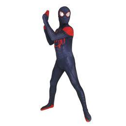 $enCountryForm.capitalKeyWord Australia - Adult Men Kids Spider-Man in the Spider-Verse Miles Morales Cosplay Costume Lycar High Quality Spiderman Superhero Zentai Party Bodysuit