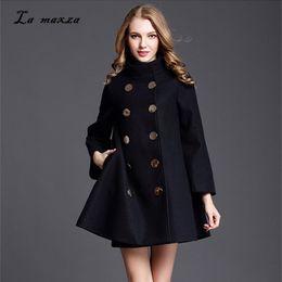 35836b077b8 Women Winter Cape Coat Wool Long Coat 2018 Vintage Elegant Clothes Loose  Fashion Korean Cape