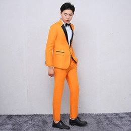 orange suits cotton Australia - Men's suits orange slim business casual formal suit men's suit two-piece suit (jacket + pants) wedding groom groomsman dress