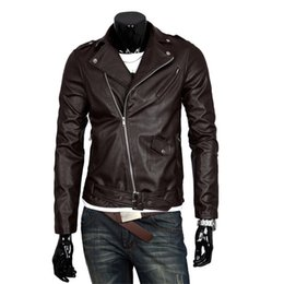 British Motorcycle Jackets NZ - Men Fashion PU Leather Jacket Spring Autumn New British Style Men Leather Jacket Motorcycle Jacket Male Coat Black Brown M-3XL wholesale