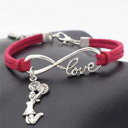 $enCountryForm.capitalKeyWord Australia - Silver Infinity Love Cheerleader Cheer Girl Rose Red Leather Rope Link Chain Charm Bracelets & Bangles For Men Women Wholesale Jewelry Gifts