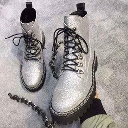 silver safety NZ - Hot Sale-Silver Boots Women High top Lace up Sheepskin Battle Ranger Boot Shoes Size Euro 35-41